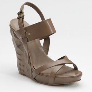 ASH Marilyn Sculpted Heel Wedge Sandals Leather